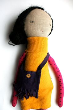 sweet black haired cloth doll rag doll handmade waldorf inspired doll