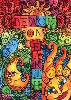 Peace On Earth Colourful Print: Perfect for Summer Christmases like ours in New Zealand!: Moonscapes - A Visual Journal Hippie Peace, Happy Hippie, Hippie Love, Hippie Style, Hippie Things, Hippie Chick, Peace On Earth, World Peace, Peace Love Happiness