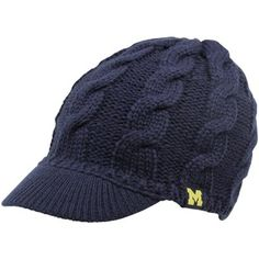adidas Michigan Wolverines Ladies Cable Visor Knit Beanie - Navy Blue