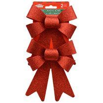 After spending the time to wrap your gift, top it off with one of these big beautiful bows. Each large red bow is made from a glittery plastic ribbon, and is durable enough to use as decoration around