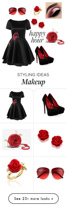 """""""Rose Love 4 Happy Hour"""" by amberurena58 on Polyvore featuring Cesare Paciotti, Disney Couture and Beauty Bakerie"""