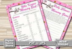 Baby Shower Who Knows Mommy Best Pink   Memory Game Pink   Baby Shower  Memory Game