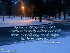 Good night. Quote by Shakespeare