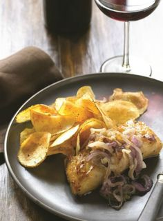 Placing the sliced potatoes in cold water prevents oxidization and removes starch, resulting in a crispier chip. A great healthy way to prepare potato chips