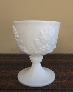 Vintage Milk Glass Compote Milk Glass White by LeBrunDesignsInc