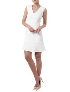 SET Kleid mit V-Ausschnitt und Taillenpasse in Weiß online entdecken (9526428) | P&C Online