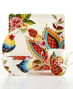 CLOSEOUT! Vida by Espana Rose Print Dinnerware Collection