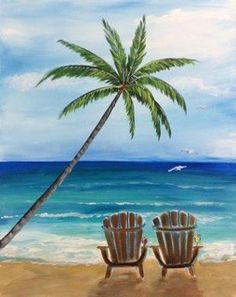 Pin by breanna hem on art painting, painting gallery, beach Night Painting, Palm Trees Painting, Beach Canvas, Painting Gallery, Summer Painting, Art Painting, Tree Painting, Art, Pictures To Paint