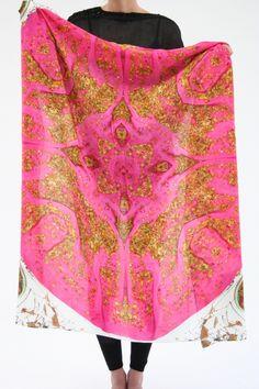 Gold flecks silk scarf