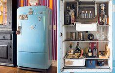 A geladeira antiga recebe tinta pastel no estilo dos anos 1950, como na casa da artista plástica Dedéia Meirelles. Se não funcionar mais, ela pode virar um bar para armazenar as bebidas para as frequentes festas dos hipsters