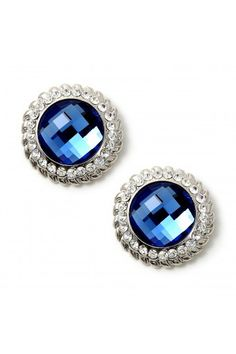 #jewelry #twjonlinestore Rhodium Crystal Stones Around a Large Circle Sapphire Stone Earrings