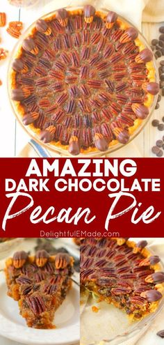 If you love pecan pie, then you've got to try this chocolate pecan pie recipe! This Dark Chocolate Pecan Pie recipe is topped with chocolate covered pecans for a show-stopping dessert and is perfect for your Thanksgiving or Christmas table! || Delightful E Made