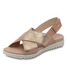 Komfort trifft auf Mode! Aus überzogenem Glattleder, verstellbares Klettriemchen, Lederfutter, Textilinnensohle, flexible Laufsohle