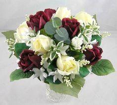 Wedding-Silk-Flower-Satin-Burgundy-Cream-Rose-Buds-Brides-Bouquet