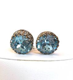 Vintage Austrian Blue Crystal Earrings Blue Rhinestone