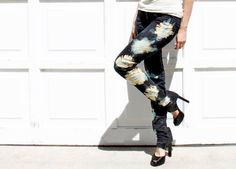 DIY painted and bleached sunburst jeans made with Simply Spray Soft Fabric Paint.