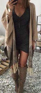 #fall #fashion / oversized poncho + boots