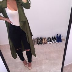 Fall Outfit - Black jeans, white top, nude heels, green cardigan