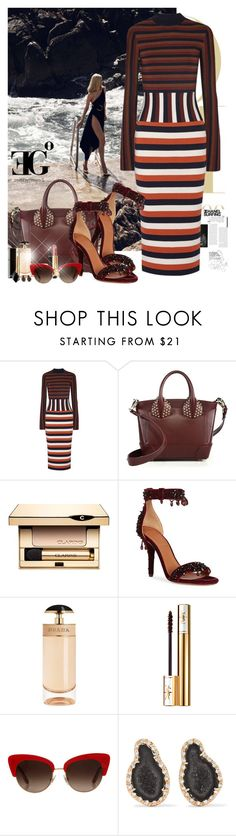 """""""In your eyes"""" by eleonoragocevska ❤ liked on Polyvore featuring Victoria Beckham, Christian Louboutin, Clarins, Givenchy, Prada, Yves Saint Laurent, Chanel, Dolce&Gabbana, Kimberly McDonald and Luca Carati"""
