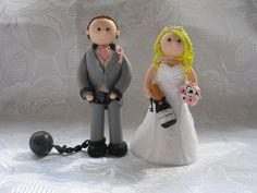 Polymer clay personalised wedding cake bride and groom toppers, handmade to order!