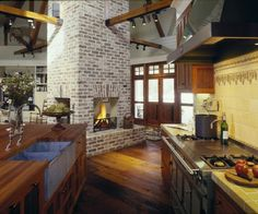 Kitchen Open Concept Kitchen Design, Pictures, Remodel, Decor and Ideas - page Metal Building Homes, Building A Shed, Building Ideas, Open Fireplace, Fireplace Design, Craftsman Fireplace, Brick Fireplaces, Fireplace Remodel, Fireplace Wall