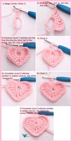Easy Crochet Hearts Loops & Love Crochet These crochet hearts work up q., Easy Crochet Hearts Loops & Love Crochet These crochet hearts work up quickly and are fun to make! They are perfect for your Valentine's Day . Crochet Motifs, Crochet Flower Patterns, Crochet Designs, Crochet Flowers, Crochet Stitches, Crochet Ideas, Easy Crochet Flower, Crochet Feather, Crochet Tutorials