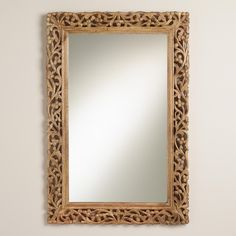 A gently curved silhouette and scrolling floral vine motif give our Natural Segovia Mirror its versatile appeal. Add dimension, drama and depth to any room with this beautiful mirror from India. Contemporary Wall Mirrors, Contemporary Decor, Entryway Furniture, Furniture Decor, Vintage Wall Art, Vintage Walls, Leaning Floor Mirror, Mirror Mirror, Entry Mirror