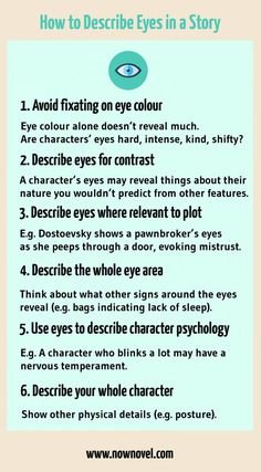 Creative Writing 125749014583855476 - Infographic: How to describe eyes in a story Book Writing Tips, Creative Writing Prompts, Writing Words, Fiction Writing, Writing Resources, Writing Help, Creative Writing Inspiration, Writer Tips, Editing Writing