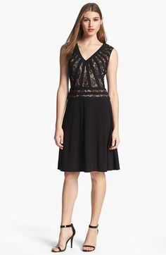 Adrianna Papell Sleeveless Lace Inset Fit & Flare Dress available at #Nordstrom    $138.00 Item #904470
