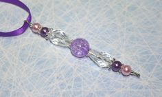 Beaded icicle decoration purple Christmas by BeadyBellaCinderella
