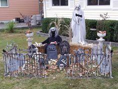 Carl family Halloween cemetery..