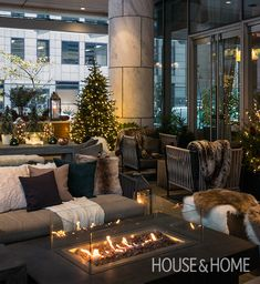 H&H's Joel Bray and Reiko Caron turned the covered patio at Toronto's Shangri-La Hotel into a warm, cozy space to relax throughout the winter. They started with the existing modern outdoor furniture and layered Cozy Patio, Restaurant Patio, Winter Home Decor, Winter Porch, H Design, Living Room Color Schemes, Colour Schemes, Modern Outdoor Furniture, Outdoor Spaces