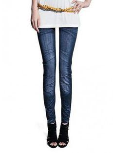 a5b769e2a93 Feitong Sexy Plus Size Woman Jean Leggings Blue Mid Waist Slim Europe Style  Fold Stretch Legging Women