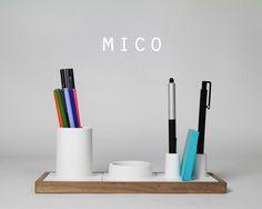 Andrew Aguinaldo is raising funds for Mico - Ceramic Desk Organizer (Canceled) on Kickstarter! A playful and elegant desk organizer that eliminates clutter and adapts to your daily needs. Desktop Storage, Desktop Organization, Living Furniture, Furniture Design, Minimal Desk, Desk Tidy, Stationary Set, Project, Home Gadgets
