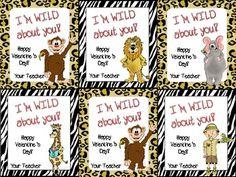Teacher Valentine Cards- Safari Theme $1