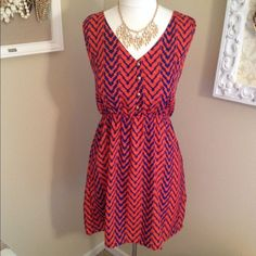Orange and Navy Blue Chevron Dress Super cute, lightweight summer dress, new with tags. No missing buttons Dresses
