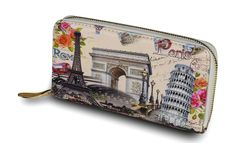 Rome-Paris Designed Wallet. Includes 6 Parts & 8 Cardholders.