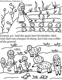 childrens church or vacation bible school craft ideas cain and abel coloring pages