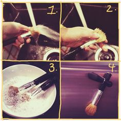 Easy DIY makeup brush cleaner; all you need is shampoo and hot water!