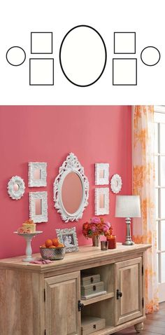 FROM OUR MAY AD IN BETTER HOMES AND GARDENS MAGAZINE - How To Create a Gallery Wall: Be creative with your space--Choose a large mirror (like our Baroque Oval Mirror) and flank it with smaller, matching pieces, to make a DIY vanity wall fit for a princess Download & print this image to get started! by carrie