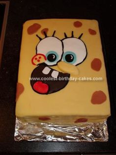 Sponge Bob Cake! [maybe do face with royal icing piped onto wax paper, then dried and transferred?]