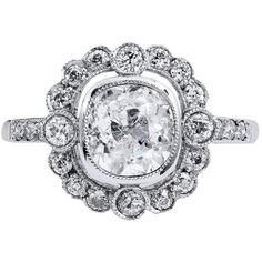 Preowned 1.39 Carat Old Mine Cut Diamond Platinum Engagement Ring ($9,400) ❤ liked on Polyvore featuring jewelry, rings, multiple, pre owned diamond rings, deco diamond ring, diamond engagement rings, bezel set engagement rings and engagement rings