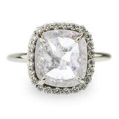 3.44 Carat White Rose Cut Diamond Halo Engagement Ring, 14kw