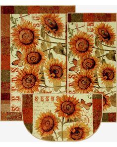 "This delightful sunflowers kitchen rug set is full of character and charm. Set includes: 18"" x 30"" slice, 20"" x 45"" mini runner and 30"" x 46"" accent rug Durable and stain resistant 100% nylon For indoor use Made in the U.S.A."