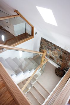 Cut String Glass and Oak Staircase - Neville Johnson Glass Bannister, Glass Stairs, Glass Railing, Wooden Stairs, Glass Balustrade, Oak Stairs, Banisters, Railings, Wooden Doors