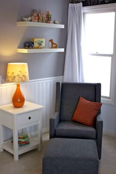 Gray and White Nursery with Orange Accents