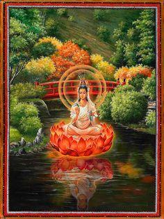 Buddhist Art: Quan Yin Red Bridge_ Quan Yin is Goddess of  Unconditional Love and a Healing Presence