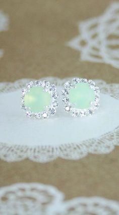 Mint crystal earring   mint wedding   seaglass earrings   beach wedding   swarovski mint opal stud earrings   mint bridesmaid earrings   mint bridal earrings   www.endorajewellery.etsy.com