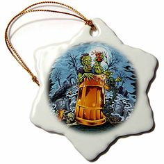 3dRose Dark food and drink funny cartoon illustration  Zombie sitting in a big beer glass in the middle of a cemetery at night  3 inch Snowflake Porcelain Ornament orn_252473_1 ** You can get more details by clicking on the image.Note:It is affiliate link to Amazon.