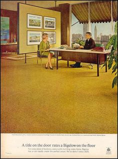 love the lines in this 1960s office but the blah color has gotta go. replace with bold, floral large prints and viola!